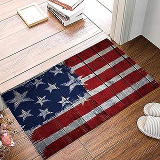 Felt American Flag Doormat Super Absorbent 18x30inch, Mud and Dirts Trapper Carpet Entrance Door Mats Shoes Scraper Rug - ...