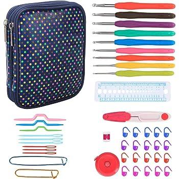 Teamoy Serie de Crochet Kits de Ganchillo Estuche para Crochet Organizador de Agujas Bolsa de Herramientas Juego del Ganchos (incluido accesorios),gota colores: Amazon.es: Hogar
