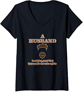 Womens Husband Is Proof Wife Can Take A Joke Funny Couple Gift V-Neck T-Shirt