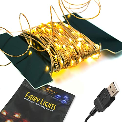 BrightTouch Mini LED String Lights - Powered by USB, Best Christmas Decorations, 100 Micro