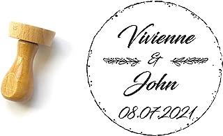 Timbro matrimonio personalizzabile, forma rotonda, con nomi e data, stile country chic, 4 cm