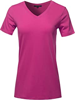 Women's Basic Solid Premium Cotton Short Sleeve V-Neck T Shirt Tee Tops (S-3XL)