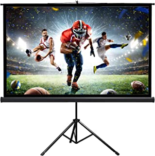 """New Portable 80"""" Projector 16:9 Projection Screen Tripod Pull-up Matte Black TS"""