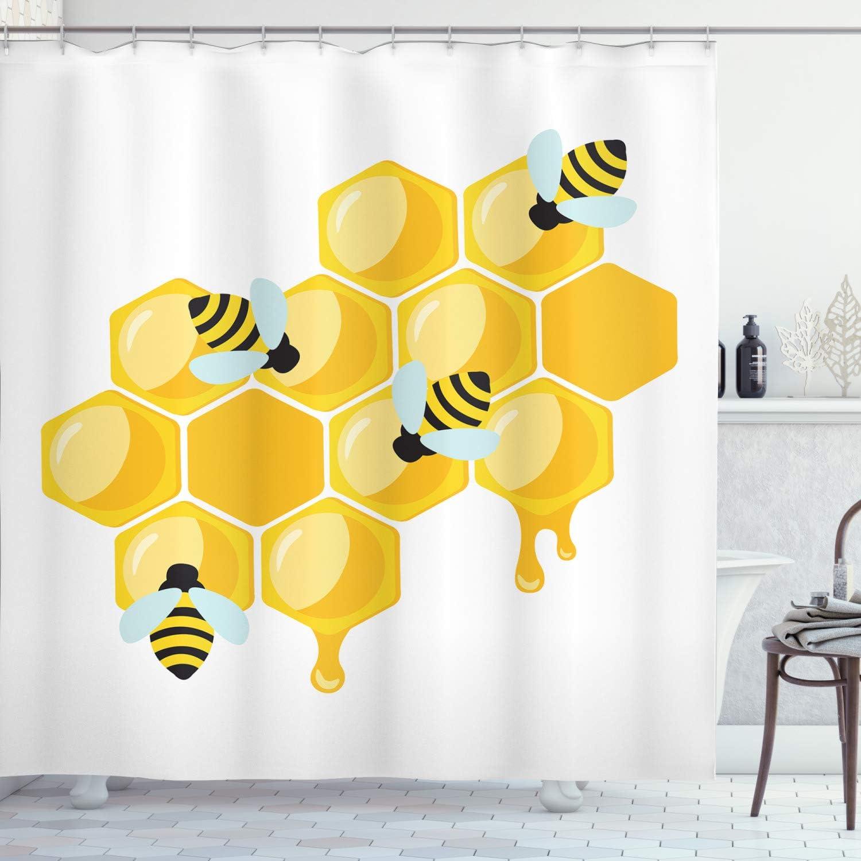Lunarable Honey 全国どこでも送料無料 Bee Shower Curtain on Hexago Insects Simplistic 再再販