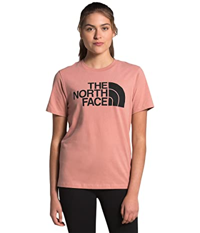 The North Face Half Dome Cotton Short Sleeve Tee (Pink Clay/TNF Black) Women