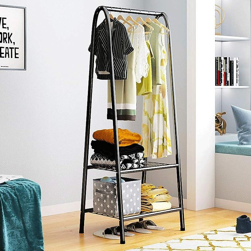 大西洋静かに軍ポールハンガー ホームオフィスの廊下の寝室のための掛かる柵および2つの層のより低い貯蔵の棚が付いているミニマリストの頑丈な金属の衣服の柵の立場 (Color : Black, Size : 60×38×152cm)