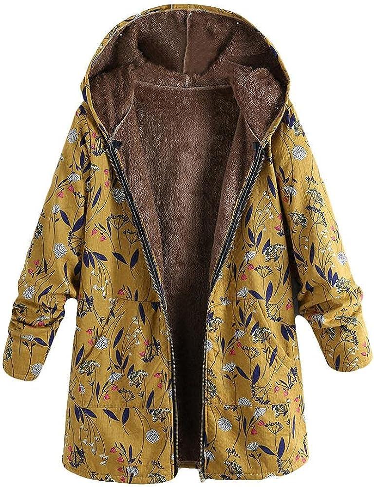 ManxiVoo Women's Winter Warm Outwear Floral Print Hooded Pockets Plus Size Vintage Oversize Coats