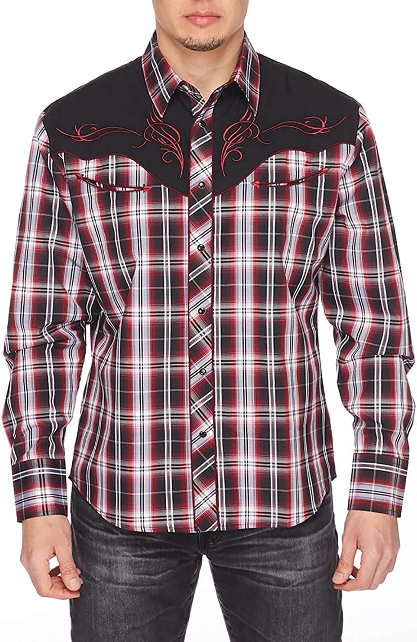 RCCO RODEO CLOTHING COMPANY Men's Embroidered Western Inspired Long Sleeves Button Down Dress Shirt