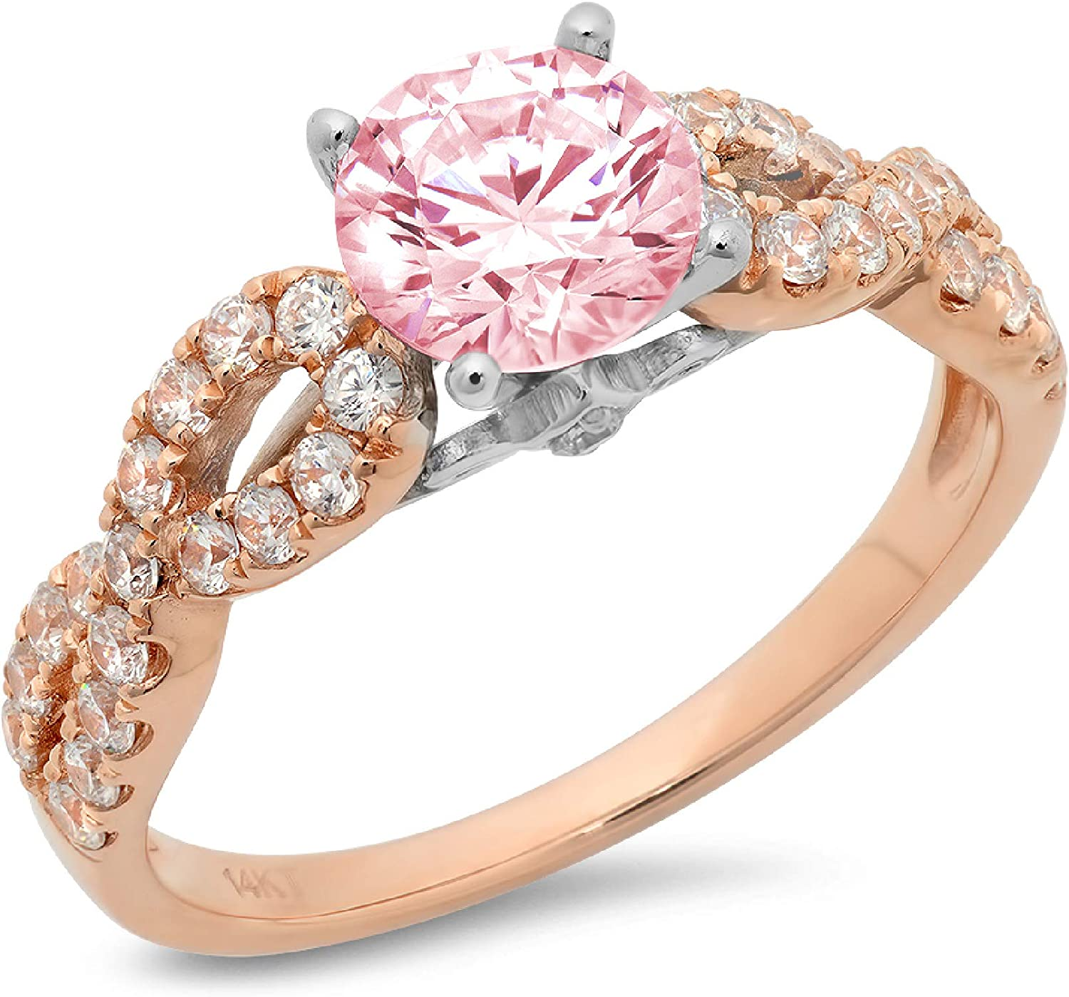 1.29ct Brilliant Round Cut Solitaire Ideal Simulated Popular popular D VVS1 Free Shipping Cheap Bargain Gift Pink