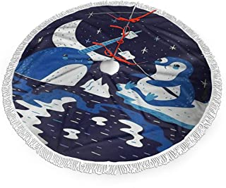 All agree Narwhal Penguin Christmas Tree Skirt 36 inch White Plush Tassels Fringe Xmas Tree Skirt Mat for Halloween Holiday Party Home Decoration Gift Indoor Outdoor