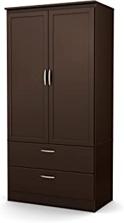 South Shore 2-Door Wardrobe Armoire with Adjustable Shelves and Storage Drawers, Chocolate