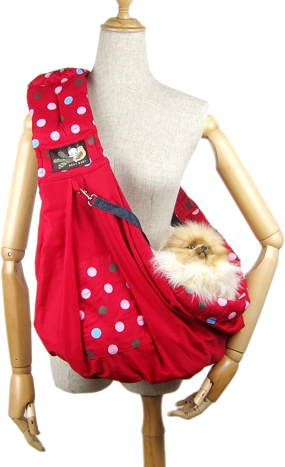 Alfie Pet by Petoga Couture  Hollis Pet Sling Carrier with Adjustable Strap  color  Red