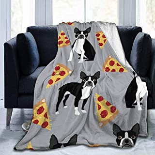 Adults Men Women Super Soft Blankets, Grey Boston Terrier Dog Pizza Super Warm Throw Wrap Cover King Size Wearable Blanket, Sleeping Blankets