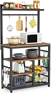 Tribesigns Kitchen Baker's Rack with 10 Hooks, 5-Tier Vintage Utility Storage Shelf, Microwave Oven Stand Rack with 2 Wire...