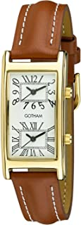 Unisex Gold-Tone Dual Time Zone Leather Strap Watch # GWC15090GT