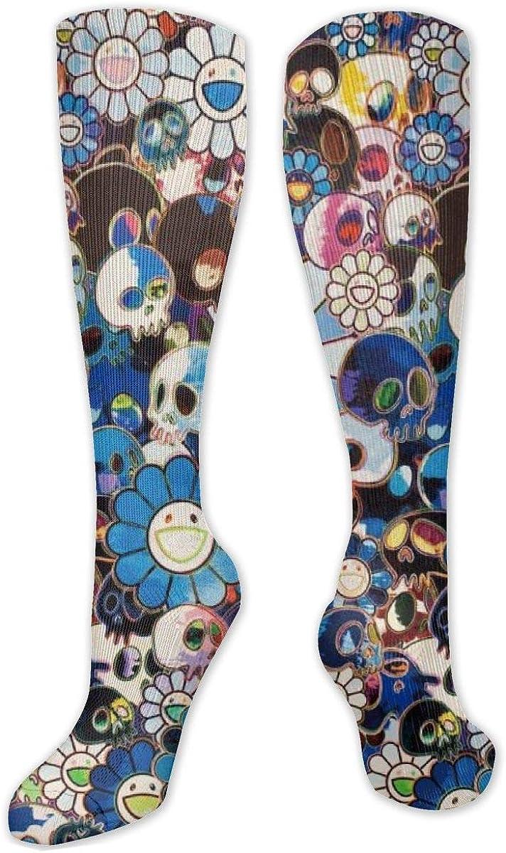 Floal Skull Art Knee High Socks Leg Warmer Dresses Long Boot Stockings For Womens Cosplay Daily Wear