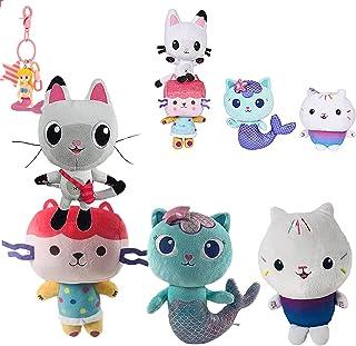 Gabbys dockhus katt plyschleksak, Mercat plysch docka mjuk fylld kudde för pojkar flickor presenter tecknade fans (4pcs)