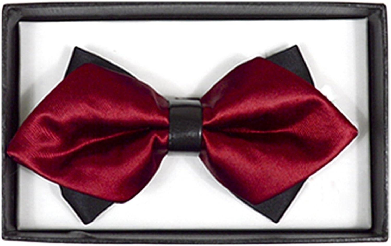 Men's Burgundy Solid Diamond Tip Bow Tie - DBB3030-53