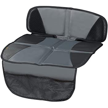 Car Seat Protector - Seat Protection Mat - Thick Padding - (Best Coverage Available), Durable, Waterproof Fabric, PVC Leather Reinforced Corners & 3 Pockets for Handy Storage Grey