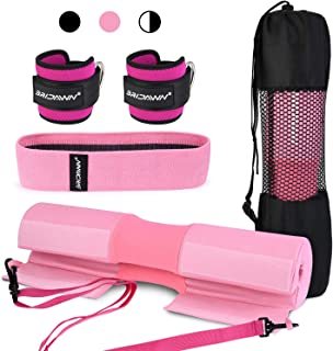 bridawn Barbell Pad Set for Squats Hip Thrusts Upgraded Bar Neck Pads Workout Foam Weightlifting Cushion Fits Standard Olympic Bars with a Carry Bag