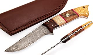 W Trading Custom Hand Made Damascus Steel Blade Gorgeous Hunting Knife with Leather Pouch.