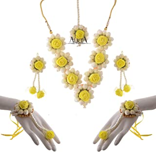 95f637a96 Alicia Handmade Beads Foam Floral Flower Floret Jewellery Set with Necklace,  Bracelets, Maang Tika