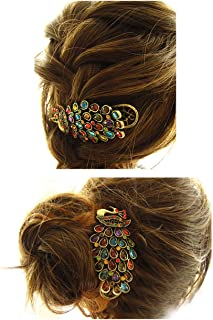 ShungFun Women Vintage Metal Peacock Pattern Hair Clips Retro Pigtail Spring Clips Hair Holders w/Rhinestones Pigtail Spring Clips Hairpieces Hair Barrettes Banana Clips for Girls