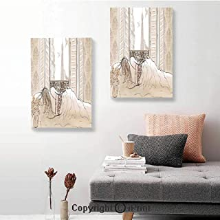 SfeatruRWF 2 Piece Multi Panel Hanging Canvas,Parisian Woman Sleeping with The View of Eiffiel Tower from Window Romance Skecthy Modern Art,16