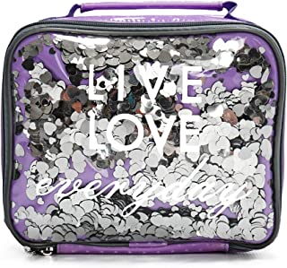 Insulated Lunch Box For Kids, Girls Glitter Lunch Bag By Silverflye- Quality Lead Free Zipper, Stitching and Seams, Cute Girl Fashion Lunch Bag with Aluminum Insulation, Easy Cleaning, Pink Or Purple
