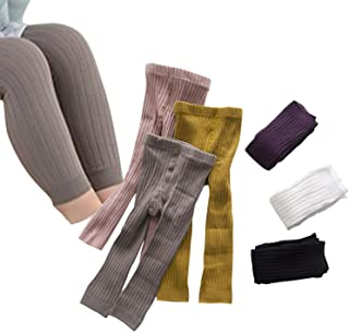 Infant Toddler Solid Color Ribbed Knit Leggings Seamless Footless Tights Cotton Pants for 0-5T Girls