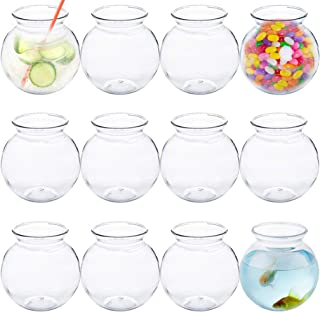 Plastic Fish Bowl 16 oz (12 Count) 4 Inch Fishbowl - Plastic Ivy Bowls - Unbreakable Vases - Great for Kids Carnival Game...