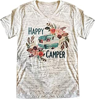 Womens Causal Happy Camper Printed T-Shirt Camping Graphic Tees