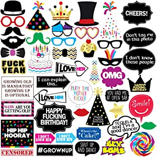 Funny Birthday Photo Booth Props - 47 Pieces - 21st - 30th - 40th - 50th - 60th - 70th - 80th - 90th - Birthday Party Supplies, Decorations and Favors