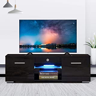 mecor Modern Black TV Stand for 50 in TV High Gloss TV Stand with LED Lights, Console Storage Cabinet with 2 Drawers for Living Room (Black-47)