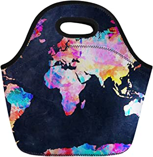 Coloranimal Cooler Warm Neoprene Lunch Tote Bag World Map Pattern Lunchbag Pouch