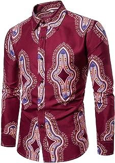 Mens Fashion Casual Button Down Slim Fit Printed Long Sleeve Dress Shirt