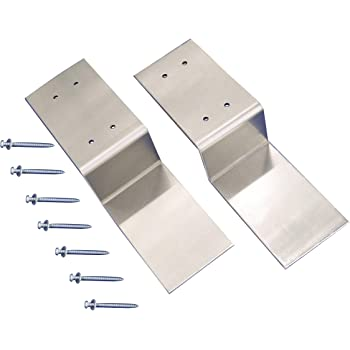"Drop Open Bar Security Door Lock Bracket Brackets Fits 2x4 Boards 2 x 4 Lumber 2.4"" Wide (1 Pair 2 Pieces with Screw)"