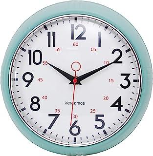Kiera Grace Relógios de parede retrô, 24 cm, verde