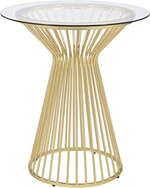 """Coaster Home Furnishings Round Glass Top Matte Brass and Clear Bar Table, 36"""" W x 36"""" D x 41.75"""" H"""