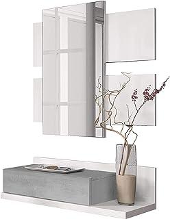 Habitdesign 0L6742A - Recibidor con cajón y Espejo Mueble de Entrada Modelo Tekkan Acabado en Blanco Artik - Gris Cemento...