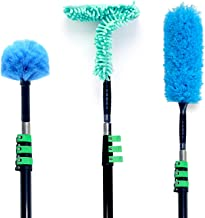 EVERSPROUT Duster 3-Pack with Extension Pole (30+ Foot Reach)   Hand-packaged Cobweb Duster, Microfiber Feather Duster, Flexible Microfiber Ceiling & Fan Duster   Aluminum Telescopic Pole