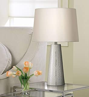 Modern Table Lamp Silver Leaf Hammered Metal Cylinder Off White Fabric Drum Shade for Living Room Family Bedroom - 360 Lighting