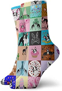 Wheatleya, Calcetines para adolescentes para niños Calcetines medianos Calcetines cómodos Crazy Faux Boston Terrier Sports Travel Calcetines diarios