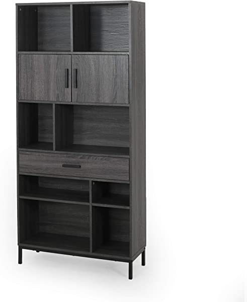 Yvonne Contemporary Faux Wood Cube Unit Bookcase Dark Gray And Black