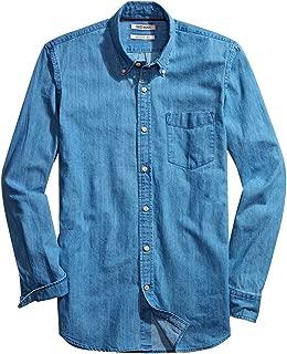 Men Dress Shirt Casual Long Sleeve Regular Fit Fashion Button and Down Denim Shirt