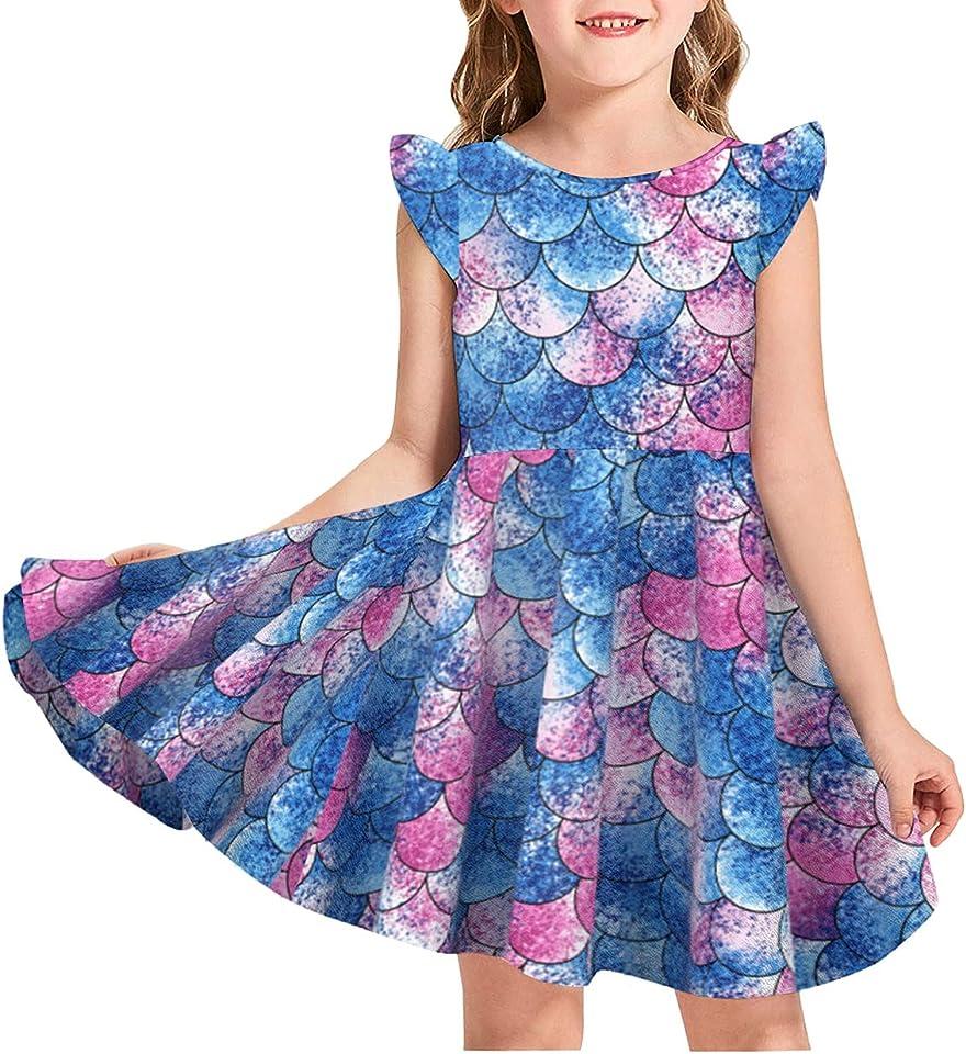 Kinder Mädchen Fliegende Ärmel meerjungfrau Kleid lässige Sommerkleid Mädchen Prinzessin Kleid Für Jeden Anlass Weich Und Bequem Geeignet