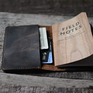 JJNUSA Distressed Leather Checkbook Journal Cover for Field Notes Moleskine Cahier Notebook Pocket size 3.5 x 5.5 Vintage Refillable Notepad Dark Brown