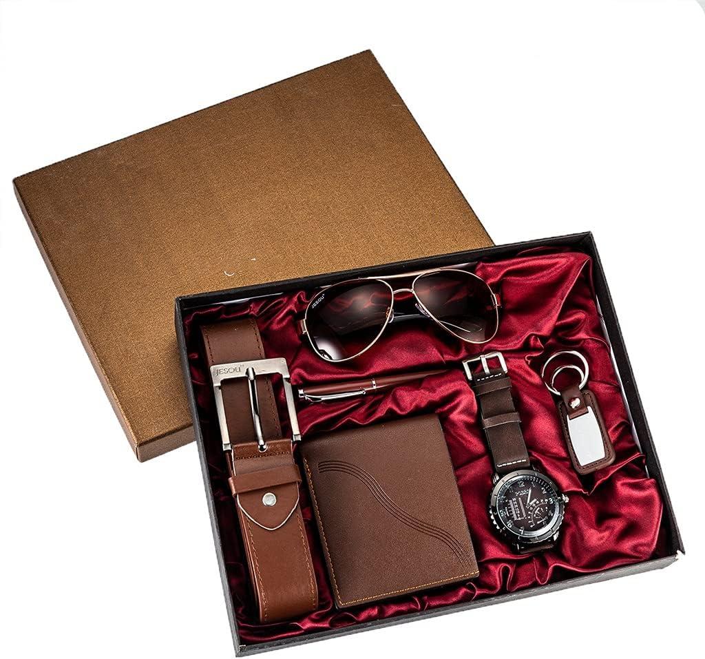 Diaod 6 unids/Set Juego de Regalo para Hombres Relojes bellamente empaquetados + Billetera con cinturón de Gafas Moda Creativa Reloj de Cuarzo Masculino para Hombres Horas de Reloj