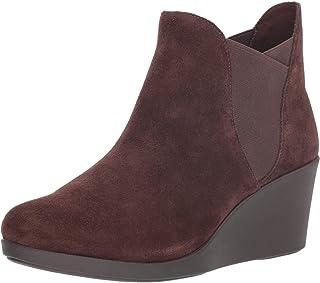 حذاء برقبة طويلة للنساء بكعب عالٍ من كروكس باللون الإسبريسو، مقاس 7 UK