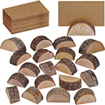 Supla 20 Pcs Rustic Wood Wedding Place Card Holders with 30 Pcs Kraft Tented Cards Half-Round Table Numbers Holder Stand Wooden Memo Holder Card Photo Picture Note Clip Holders Escort Card Holder